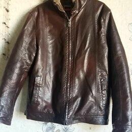 Куртки - Кожаные куртки коричневая , 0