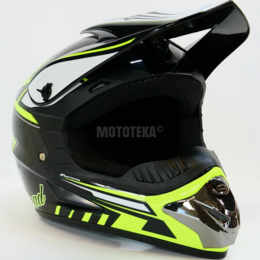 Спортивная защита - Шлем Motax (Мотакс) детский кроссовый глянцево-черный-желтый (G3), 0