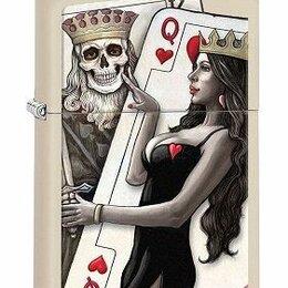 Пепельницы и зажигалки - Зажигалка Zippo 29393 King & Queen of Hearts, 0