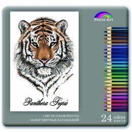 Письменные и чертежные принадлежности - Каранд. 24цв  Fenix-Art Тигр, заточ., 3-х гран.форма, металл.коробка, 0