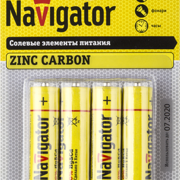 Батарейки - Элемент питания солевой 94 758 NBT-NS-R6-BP4 (блист.4шт) Navigator 94758, 0