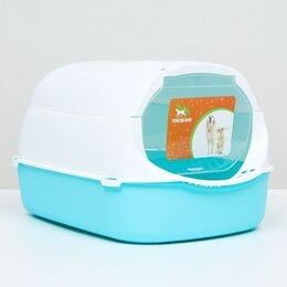 Туалеты и аксессуары  - Туалет-домик с фильтром, 43 х 32 х 28 см, бело-голубой, 0