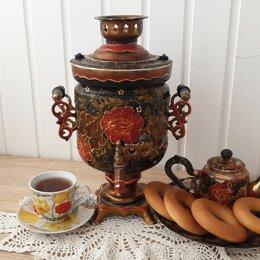 Самовары - Самовар электрический расписной +чайник и тарелка , 0