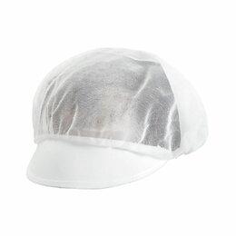 Головные уборы - Шапочка с козырьком белая, 25*23 см, полиэстер, 10 шт, 0