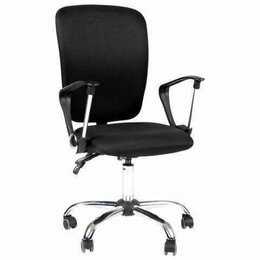 Кресла и стулья - Кресло СН-9801, с подлокотниками, хром, черное, 6043754, 0