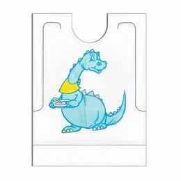Босоножки, сандалии - Нагрудник детский Dino одноразовый с карманом, 27x34+5 см, 500 шт, полиэтилен, G, 0