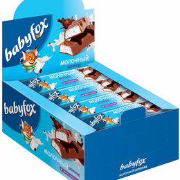 Лакомства  - Батончик шоколадный с молочной начинкой Babyfox 47г, 0