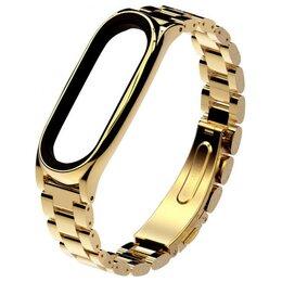 Ремешки для часов - Металлический браслет Xiaomi Mi Band 4 (Золотой), 0