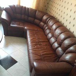 Диваны и кушетки - Кожаный угловой диван шоколадный, 0