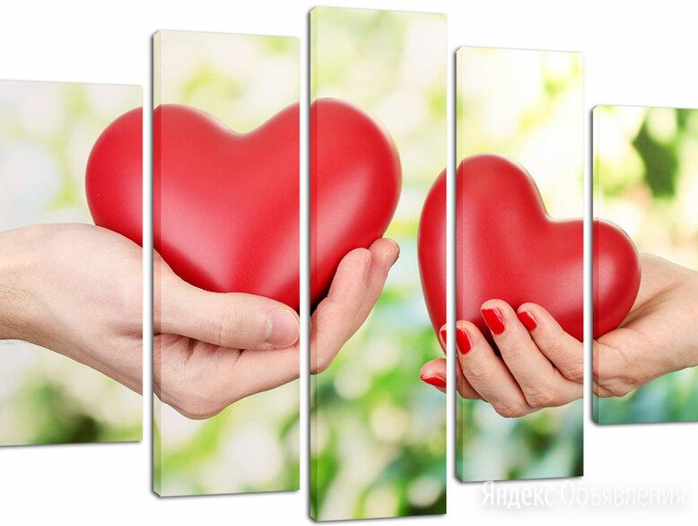 Модульная картина Два сердца (Материал: Натуральный холст, Размер: 160х90 см.) по цене 4200₽ - Интерьерная подсветка, фото 0