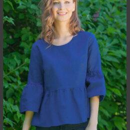 Блузки и кофточки - Синяя льняная блузка, 0