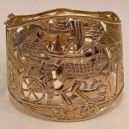 Комплекты - золотой женский браслет по египетским мотивам, ручная работа, 0