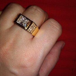 Кольца и перстни - Мужской-женский перстень 925 пробы позолоченный с серебром с фианитами., 0