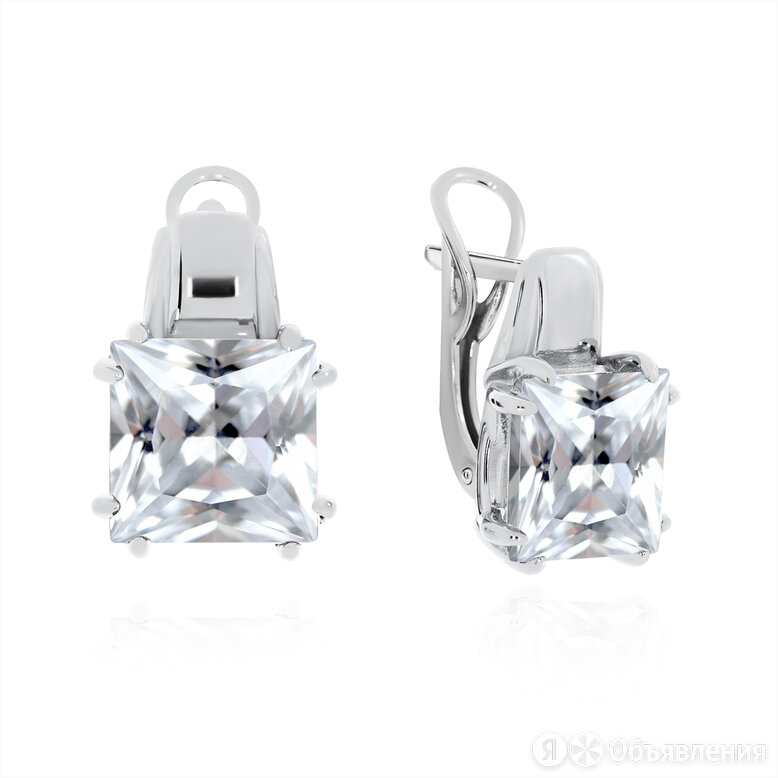 Серьги из серебра с фианитом по цене 3200₽ - Серьги, фото 0