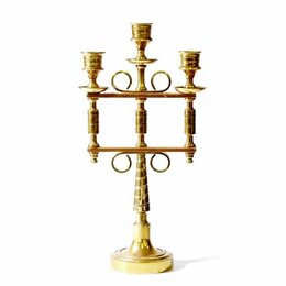 Подсвечники - ПОДСВЕЧНИК на 3 свечи разборный бронза+медь 32см 1922гр, 0