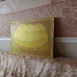 """Картины, постеры, гобелены, панно - Картина """" Желтые яблоки в золотой вазе """" (двухсторонняя ), 0"""