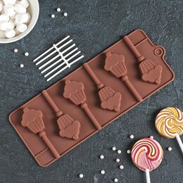 Формы для льда и десертов - Форма для леденцов Доляна «Кексик», 25×9,5×1,5 см, 6 ячеек, цвет шоколадный, 0