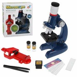 Детские микроскопы и телескопы - Наша Игрушка Микроскоп детский 1200х увеличение, 3 объектива, держатель смарт..., 0