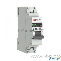 Защитная автоматика - Ekf Mcb4763-1-25c-pro Автоматический выключатель 1p 25А (c) 4,5ka ВА 47-63 Ek..., 0