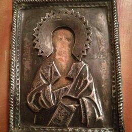 Иконы - Святой пророк Илья в окладе 19 век, 0