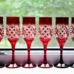 Рюмки и стопки - Бокалы красные резные из двухслойного стекла (Хрусталя) ручная огранка, 0