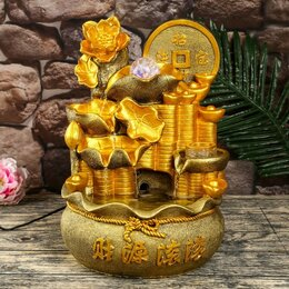 Декоративные фонтаны - Фонтан настольный полистоун от сети свет 'Монета и лотосы' 38х26,5х22 см, 0