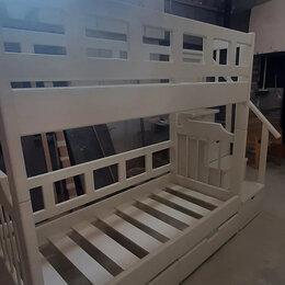 Кроватки - Двухъярусная кровать для детей белая деревянная, 0