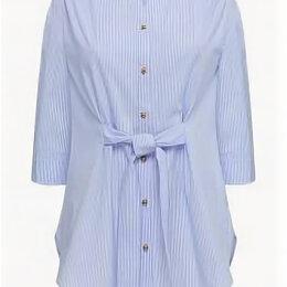 Блузки и кофточки - Удлиненная блузка с поясом, цвет нежно-голубой, 0