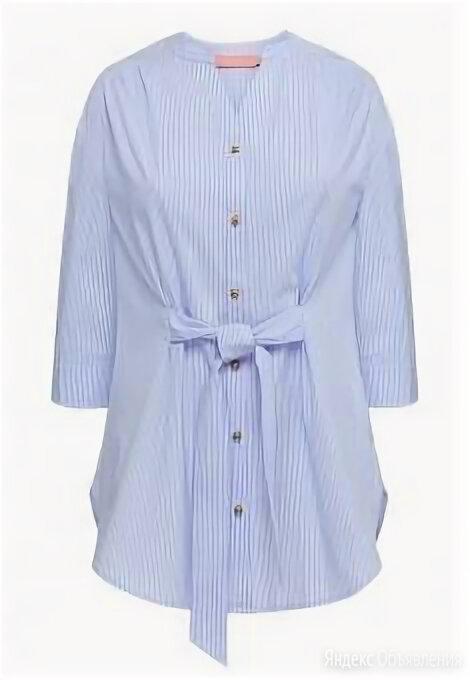 Удлиненная блузка с поясом, цвет нежно-голубой по цене 1799₽ - Блузки и кофточки, фото 0