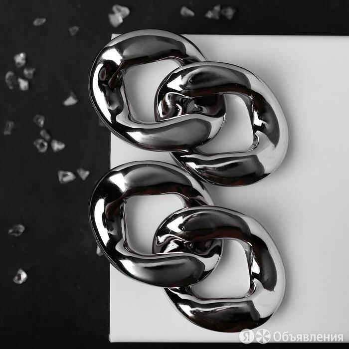 """Серьги металл """"Цепь"""" отражение, звенья 2шт, цвет серый по цене 268₽ - Серьги, фото 0"""