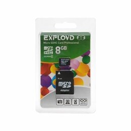 Карты памяти - Карта памяти MicroSD  8GB  Exployd Class  4 + SD адаптер, 0