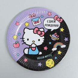 Одноразовая посуда - Тарелки бумажная «С Днём Рождения!», Hello Kitty, 23 см, набор 6 шт., 0
