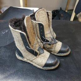 Одежда и обувь - Берцы войлок на шнуровке, натуральный мех овчина, 0