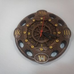 """Часы настенные - Уникальные настенные часы """"Морской бриз"""", резные из массива дуба, 0"""