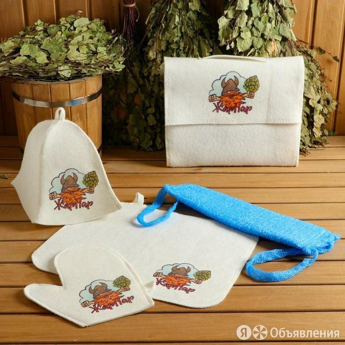 Набор для бани и сауны 5 в 1(сумка,шапка,варежка,коврик,мочалка),с принтом 'Ж... по цене 1021₽ - Аксессуары, фото 0