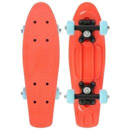 Скейтборды и лонгборды - Пенниборд 42 х 12 см, колеса PVC 50 мм, рама пластик, цв. оранжевый, 0