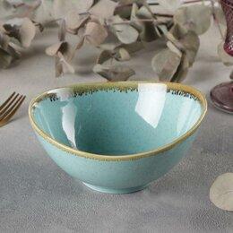 Блюда, салатники и соусники - Салатник 'Лазурит', 450 мл, 16x15,5x7,5 см, цвет голубой, 0
