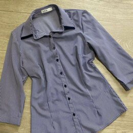 Блузки и кофточки - Рубашка удлиненная женская в полоску горизонтальную, 0