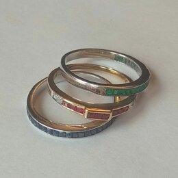 """Кольца и перстни - Золотое кольцо """"тройка"""" 585 пр. бриллианты, сапфиры, изумруды, рубины, 0"""