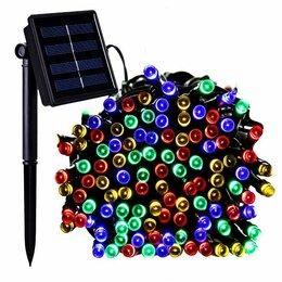 Наука и образование - Гирлянда LED 10м, 100л. линейная уличная на солнечной батарее, цветная, 0