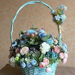 Цветы, букеты, композиции - Интерьерная композиция из искусственных цветов в корзине , 0