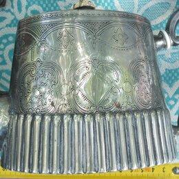Посуда - чайник заварной,латунь,серебрение,Европа,старый, 0