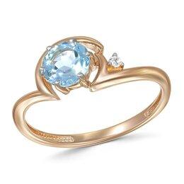 Кольца и перстни - Кольцо с топазом и фианитом из красного золота, 0