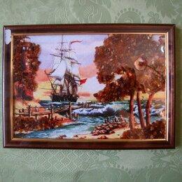 Картины, постеры, гобелены, панно - Картины из янтаря море лодки, 0