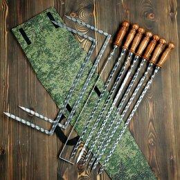 Шампуры - Набор 6 шампуров 50 см, складной мангал, кочерга в камуфляжном чехле, 0