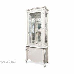 """Кровати - Шкаф с витриной """"Луиза"""" 1-но дв. высокий (правый); белая эмаль с серебряной п..., 0"""