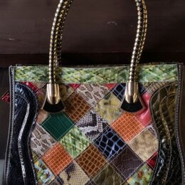 Сумки - Кожаная сумка в стиле пэчворк, 0