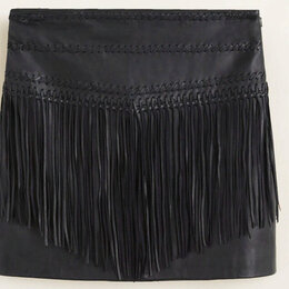 Юбки - Кожаная юбка с бахромой, 0