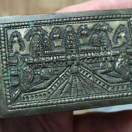 Шкатулки - шкатулка латунная,серебрение, эмираты,19 век, 0