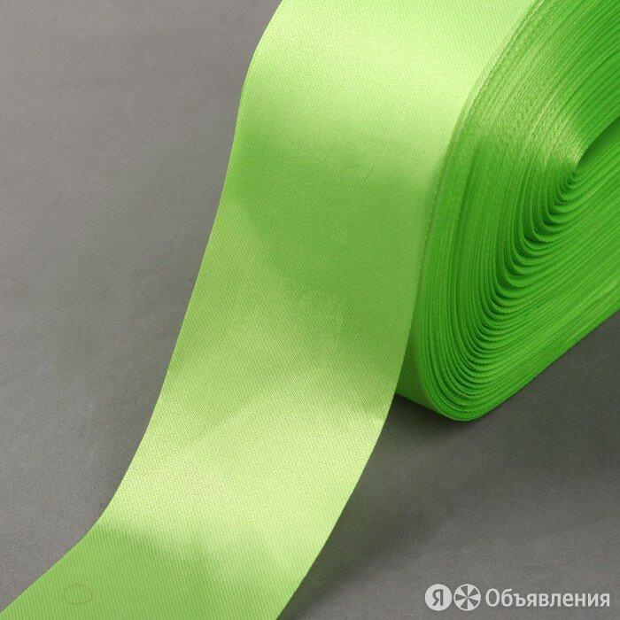 Лента атласная, 50 мм x 100 ± 5 м, цвет ярко-салатовый по цене 702₽ - Рукоделие, поделки и сопутствующие товары, фото 0